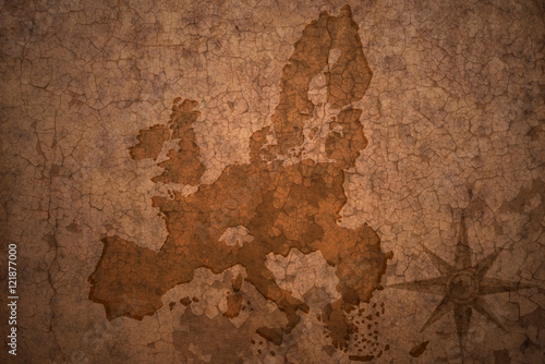 Poster Old dirty textured wall european union map on vintage crack paper background
