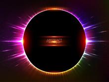 Dark Red Vector Shining Cosmic Round Frame