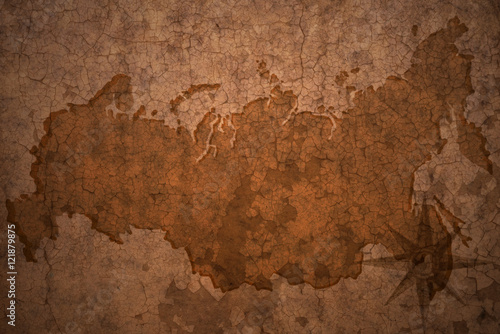 Fotografie, Tablou russia map on vintage crack paper background