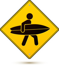 Yellow And Black Vector Caution Sign With Surfer