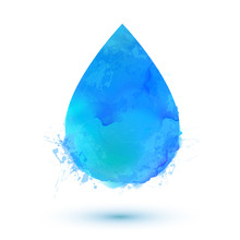 Blue Watercolor Vector Water Drop Isolated On White Background