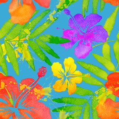 Obraz Vivid colors bright tropical flowers watercolor vector seamless pattern