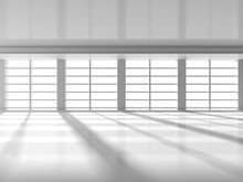 Abstract Modern Architecture Background. Empty Room With Big Win