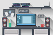 Workspace Office Computer Creative Flat Design