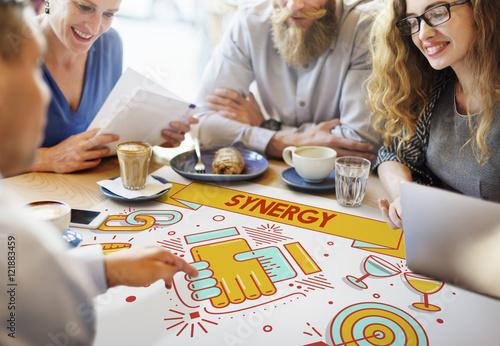 Valokuva  Synergy Collaboration Cooperation Teamwork Concept