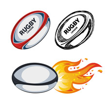Collection Ball Rugby White Background Design Vector Illustration Eps 10