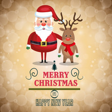 Merry Christmas Lettering With Santa And Reindeer Design Vector Illustration Eps 10