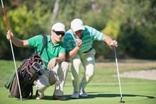 Golf. Golfer And Caddy Contemp...