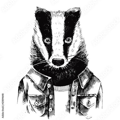 Obraz na plátne Hand drawn dressed up badger in hipster style