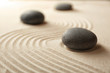 Japanese Zen garden. Pebbles on a sand