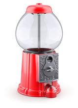 Empty Red Gumball Machine On White Background
