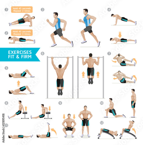 Foto  Man workout fitness, aerobic and exercises. Vector Illustration.
