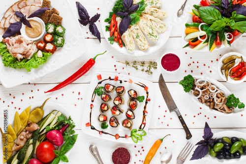 Fotografia Served banquet in russian tradition, flat lay