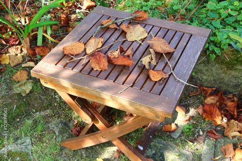 Feuilles mortes sur table de jardin – kaufen Sie dieses Foto und ...