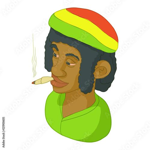 Photo  Rastaman icon in cartoon style isolated on white background
