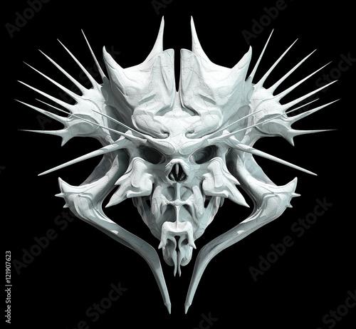 Monster skull design on a black background for Halloween Wallpaper Mural