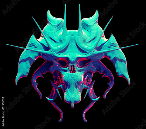 Monster skull design on a black background for Halloween Wallpaper Mural