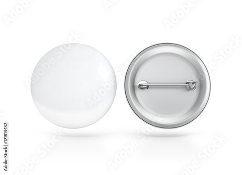 Blank white button badge mockup, front and back side