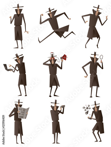 Fotografía  Vector set of cartoon image of a spies in black coats, hats and sunglasses performing different actions with different attributes in the hands on a white background