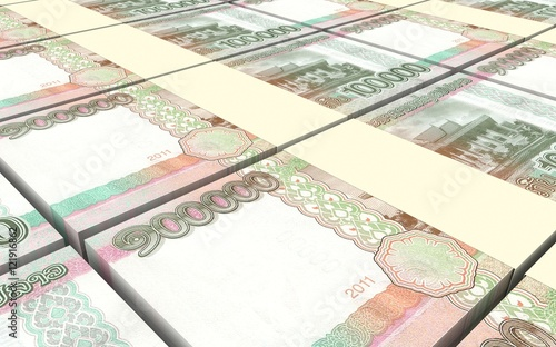 Recess Fitting Chicken Laotian kip bills stacks background. 3D illustration.