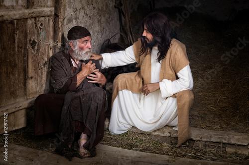 Photo  Jesus healing the lame old man
