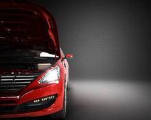 Open Hood Of A Car With View Of The Engine 3d Render