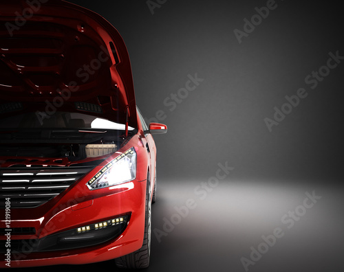 open hood of a car with view of the engine 3d render Wallpaper Mural