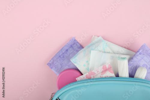 Hygiene feminine pads, tampon menstruation in the beautician Wallpaper Mural