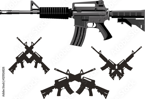 Fotografía  Classic American combined arms assault rifle isolated on white background