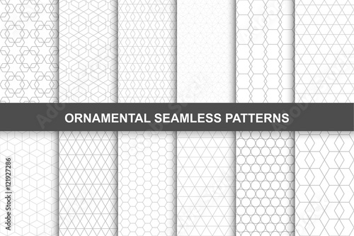 Fototapety, obrazy: Collection of ornamental geometric seamless patterns in vintage style.