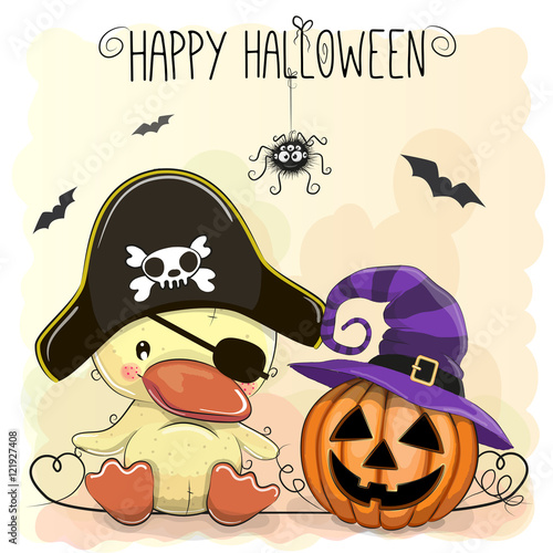 Plakat Halloweenowa ilustracja kreskówki kaczka