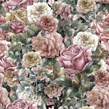 Watercolor painting of flowers, rose , seamless pattern - 121928600
