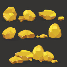 Gold Rock,nugget Set. Stones Single Or Piled For Damage And Rubble For Game Art Architecture Design
