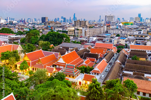 Traditional architecture of Bangkok from the height of bird flight, Thailand Wallpaper Mural