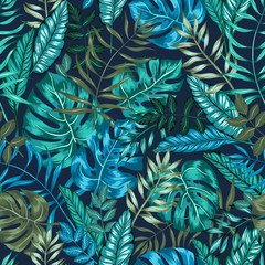 Tapeta seamless graphical artistic tropical nature jungle pattern, modern stylish foliage background allover print with split leaf, philodendron, palm leaf, fern frond