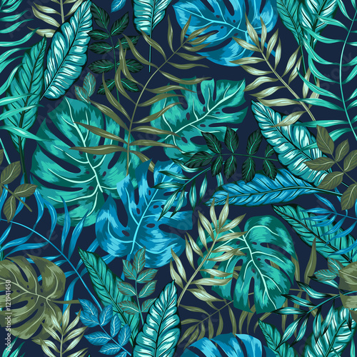 Obraz seamless graphical artistic tropical nature jungle pattern, modern stylish foliage background allover print with split leaf, philodendron, palm leaf, fern frond - fototapety do salonu