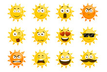 Smiling Sun Emoticons. Vector ...