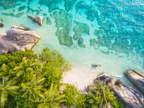 Fotografie, Obraz  Aerial photo of Seychelles beach at La Digue