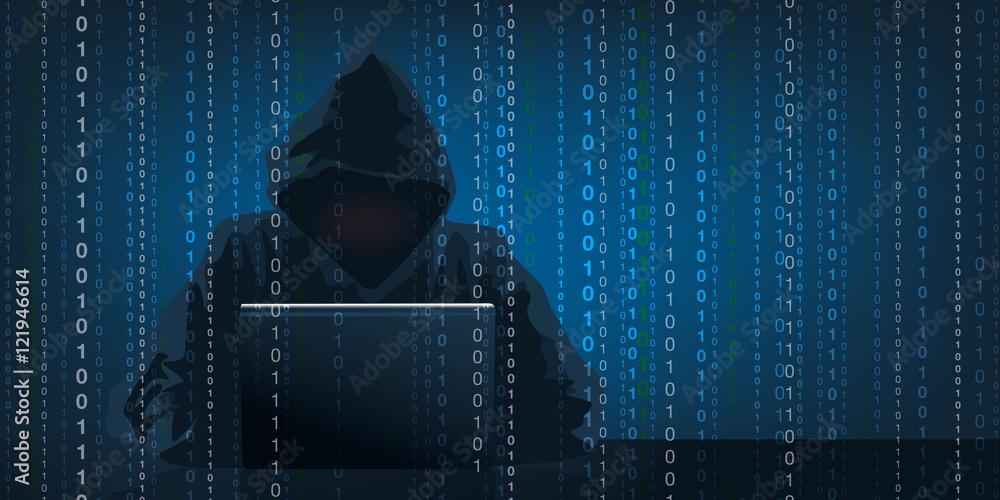 Fototapeta Concept du piratage informatique avec un hacker qui récupère des données confidentielles en camouflant son visage sous une capuche.
