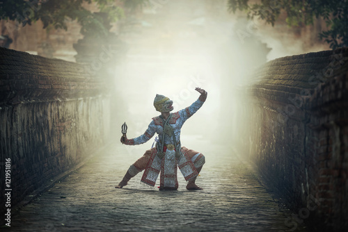 Khon is traditional dance drama art of Thai classical masked, this performance i Wallpaper Mural