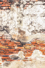 Old Brick Wall Background With Cracked Concrete