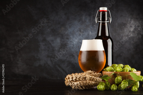 Beer glass on dark background Canvas