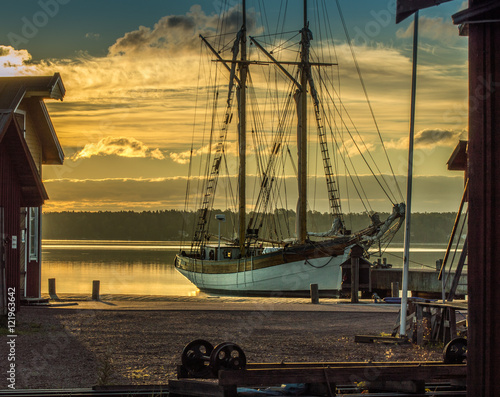 Canvas Prints Ship Old boat in the shipyard