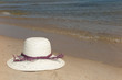 Straw hat on a tropical beach summertime