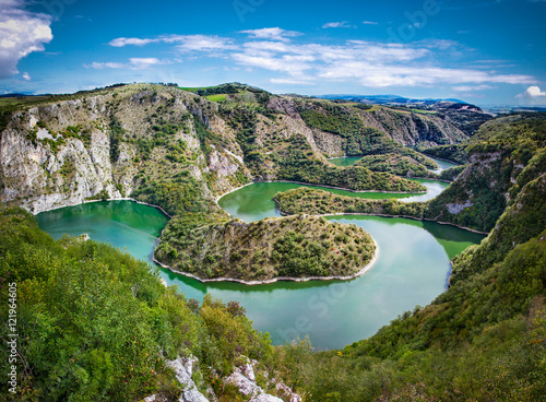 Foto op Canvas Rivier Meanders at rocky river Uvac gorge, southwest Serbia