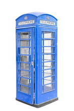 Classic British Blue Phone Booth In London UK