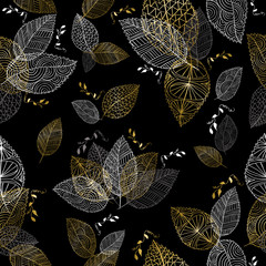 FototapetaGold hand drawn fall leaves seamless pattern