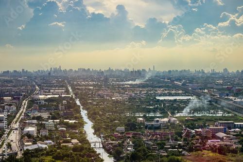 Aerial view of urban Bangkok, Thailand Poster