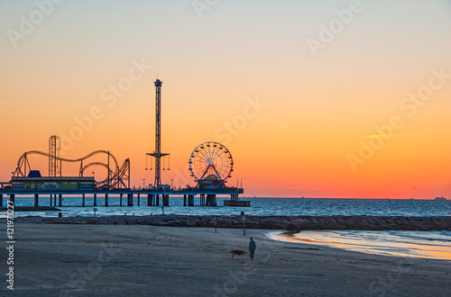 Poster Texas Galveston sunrise on beach
