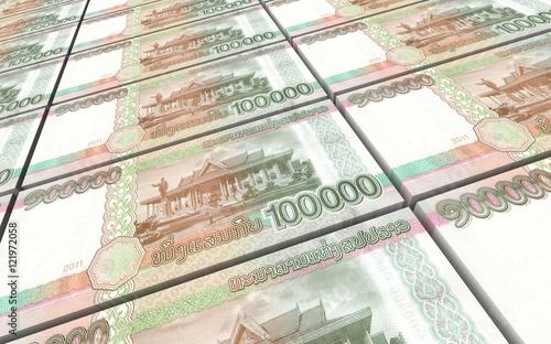 Montage in der Fensternische Huhn Laotian kip bills stacks background. 3D illustration.